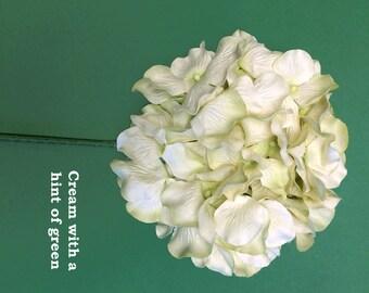 5 Stems of  Handmade Paper/Parchment Hydrangea-Cream - 5 stems per order