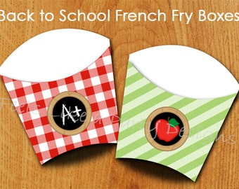 Back to Schooll French Fry Box - Instant Download