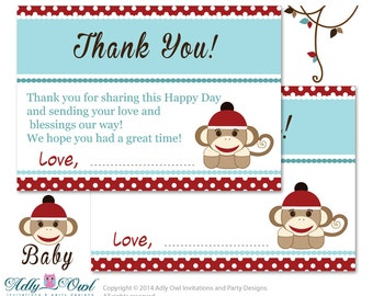 Boy Sock Monkey Thank you Card Printable for Baby Boy Shower or Birthday DIY Red Blue , Retro - oz33bs22