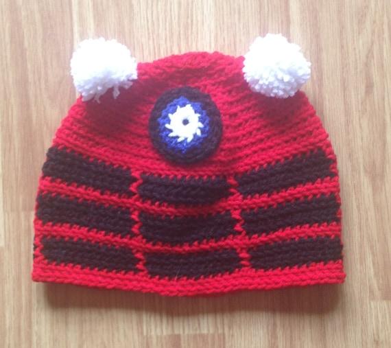 Knitting Pattern For Dalek Hat : Red Classic Dalek Crochet Beanie