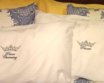 Prince Charming and Princess Crown embroidered pillowcases (set of two, one each) in a variety of colors and color thread.