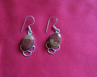 Jasper Earrings Dangle Pierced Earrings and Silver Tone