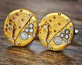Gold Watch Movement Cufflinks Cuff Links Steampunk Vintage Mens Ladies Valentine's Day Gift Cufflinks - Ideal Unusual Gift