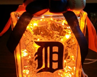 DETROIT TIGERS Lighted Glass Block
