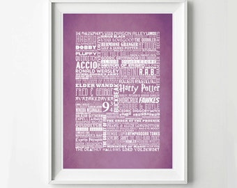 Harry Potter Poster - Typography Poster, Minimalist Print, Digital Art Print, Movie Poster
