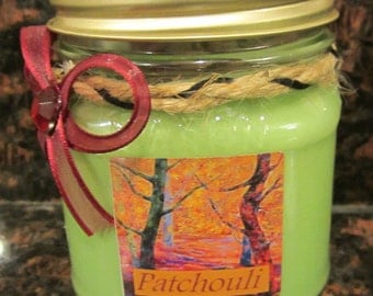 Patchouli 100% Soy Fall Candles Homemade in a Decorated 8oz Mason Jar Hand Poured Autumn Halloween