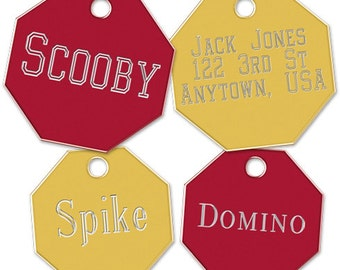 Small Octagon Pet ID Tag with Split Ring