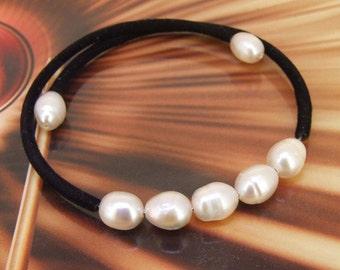 Charm White Pearl  Bracelet Charm Rice White Freshwater Pearl  Black Rope  Bracelet  Cuff Jewelry