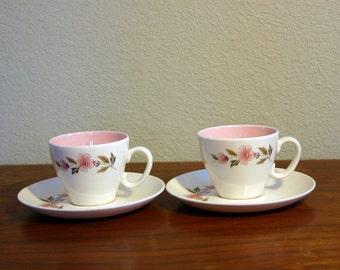 Vintage Flower Pink Cup & Saucer Set of Two