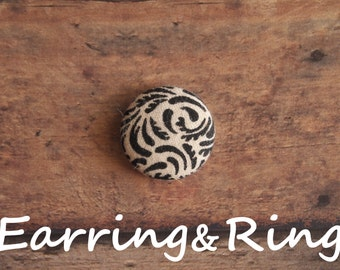 Cream and black elegant swirl fabric covered button earrings, fabric covered button clip on earrings, fabric covered button ring