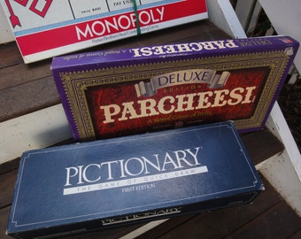 3 Vintage Board Games/Delux Parcheesi/Pictionary/Monopoly