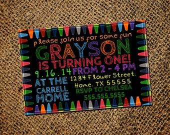 Crayon Birthday Invitation
