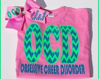 Adult Sizes Obsessive Cheer Disorder shirt and matching hairbow...Cheerleading