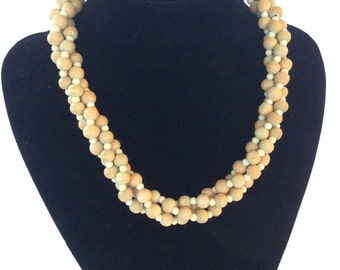 CLEARANCE - Vintage 3 strand wood bead choker twisted necklace