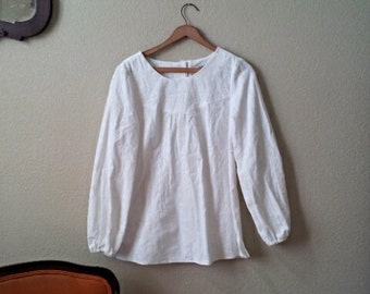 Womens Long Sleeve - White - Blouse  - Soft Corduroy - Vintage