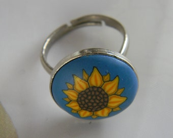 Flower Power Sunflower Polymer Clay Ring