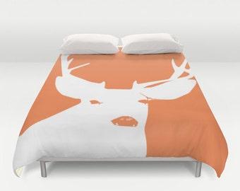 Duvet Cover, Orange Deer Duvet Cover, rustic bedroom decor, animal duvet cover, king duvet cover, queen size duvet covers