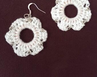 Earrings - White Beaded Crochet Danglers