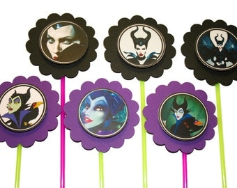 Maleficent Disney Villain cupcake toppers - Set of 12