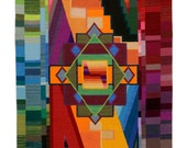 "Sum of the Parts, Lisa Trujillo, 48""x72"", Modern blanket, handwoven wool tapestry - Centinela"