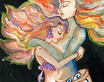 High quality print of an original oil painting of lovers
