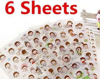 Cute Girl Sticker, Deco Sticker, Korean Sticker, Cute Sticker, Scrapbook, Sweetheart Sticker