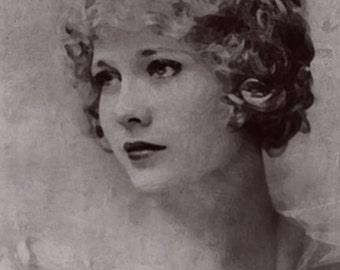 Vintage Art  Portrait of Esther Ralston 1920s style art Flapper Girl  Art Deco retro art The great gatsby  Silent movie stars actress