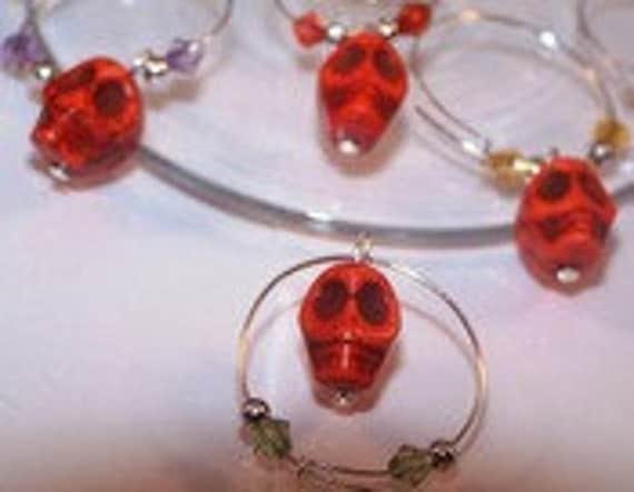 Skull Wine Charms, Set of 6 Bone Beads, Halloween Gifts, Scary, Goth Wine Charms, Orange, Spooky, Fun