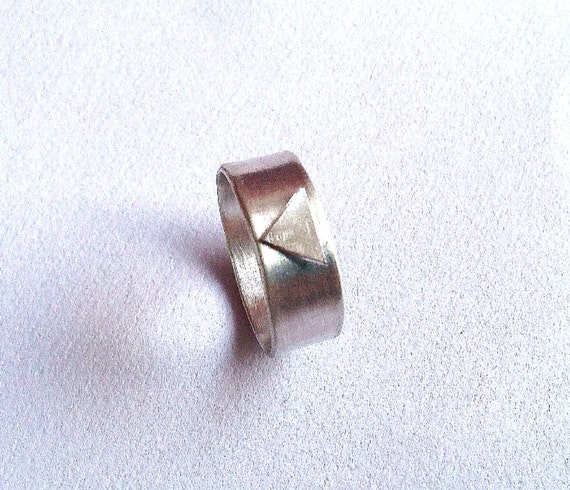 Triangle Silver Chunky Ring - Minimal Ring - Wide Band - Sterling - Geometric - Shape - Organic Texture