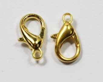 50 pcs lobster gold clasp, 10mm gold clasp,  supplies jewelry, gold clasp