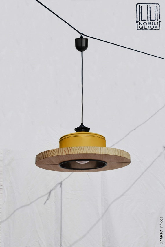 Hanging / Ceiling lamp / Pendant light, mustard color .... ECO-friendly: recyled from big coffe can ! for office / studio / shop / bar