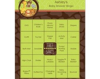 Safari Jungle Baby Shower Bingo - 16 Unique Personalized Gift Bingo Game Cards - Baby Shower Game Cards