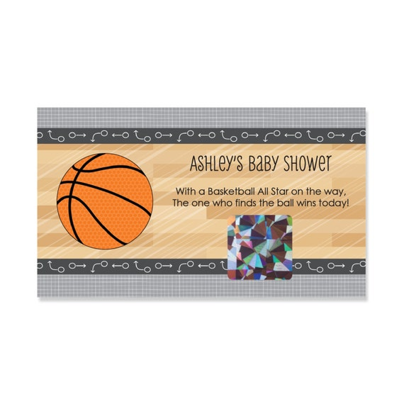 basketball baby shower games 22 personalized scratch off game cards