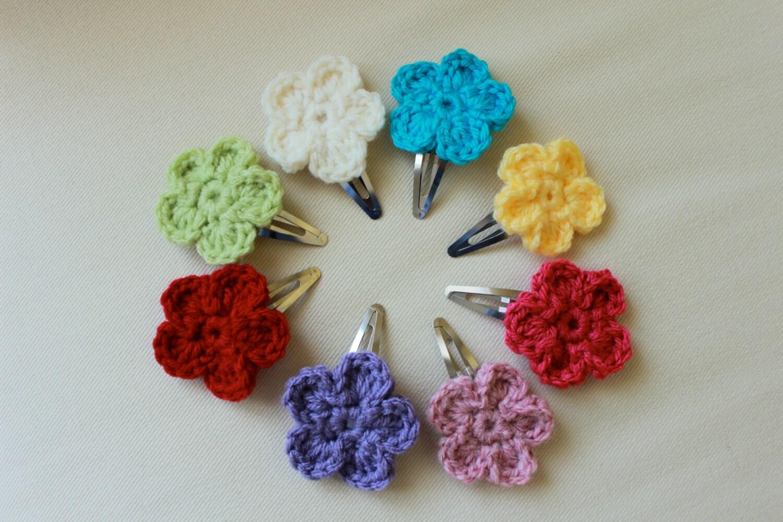 Crochet Hair Flowers : Crochet Flower Hair Clip Set of 3 Handmade by LovableLittleMonkey