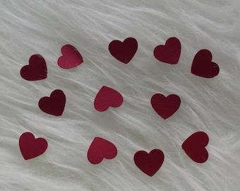 100 dark red heart confetti
