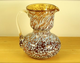 Little Speckled Yellow Blown Glass Pitcher