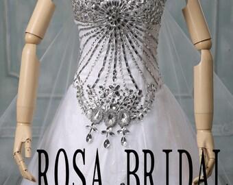 Cathedral wedding dress rhinestone, Long train wedding dress, Luxury wedding dress, bridal dress, Wedding Gown Detachable train Custom