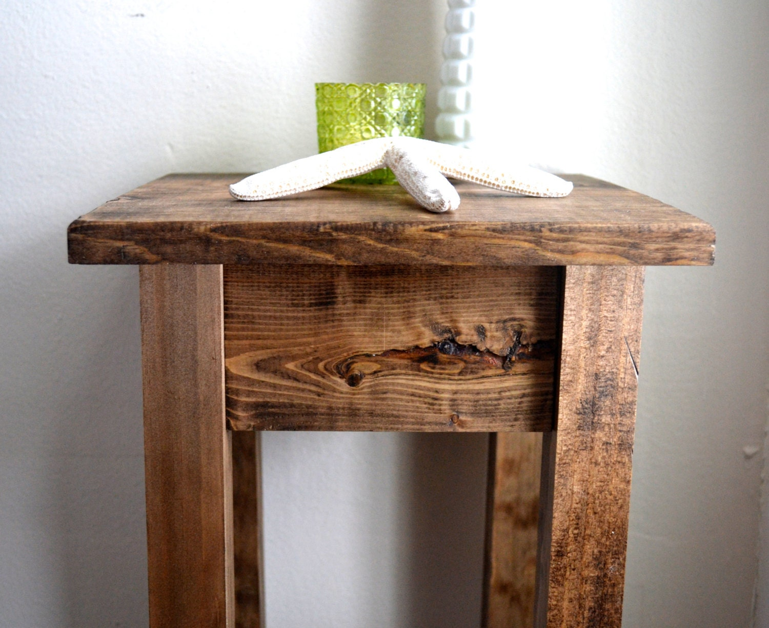 The Tee Dark Walnut Stained Pine Side Table / Nightstand