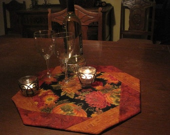 Autumn Splendor Chrysanthemums and Pumpkins Table Topper