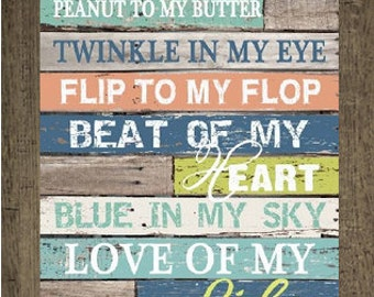 Peanut to my Butter Flip To My Flop, Love of my Life  Blocking Decor Framed Picture 13x16""
