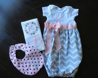 Layette set for baby girl with nightgown, bib and burp cloth