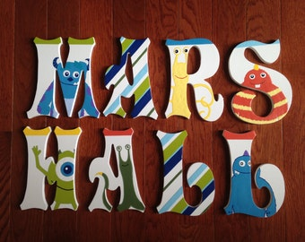 Custom Hand-Painted Letters match DISNEY MONSTERS, INC bedding Sulley Mike Personalized Wood Name... Priced per letter