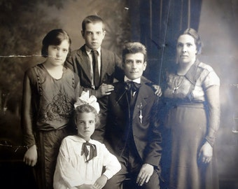 """Very Large Antique Family Photo // Rare size 20"""" x 15"""" antique photo // Somber, solemn family with mother, father, teenagers, & young girl."""