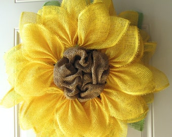 Yellow Sunflower Summer Fun Paper Mesh Indoor Flower Wreath!