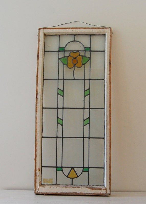 Beautiful Stained Glass Window Panel Floral Design Green