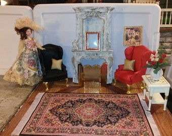 High Quality dollhouse furniture living room set lot w/ painted resin tall fireplace 2 Hansson wingback chairs rug end table + flowers 1/12