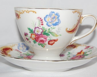 Gladstone Bone China Tea Cup and Saucer Made in England - Picardy
