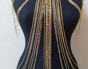 Body chain, Shoulder chain, Gold body chain ,Necklace