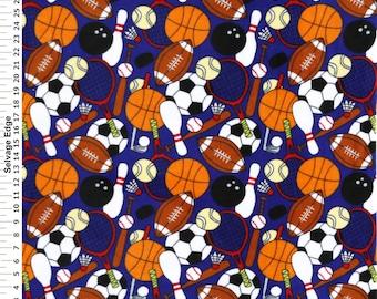 Fabric by the 1/2 Yard - Sports Galore Blue Polar Fleece