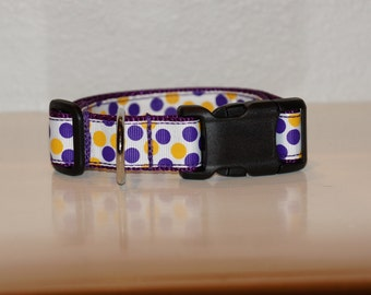 Purple and Gold Polka Dot Collar - 1 inch